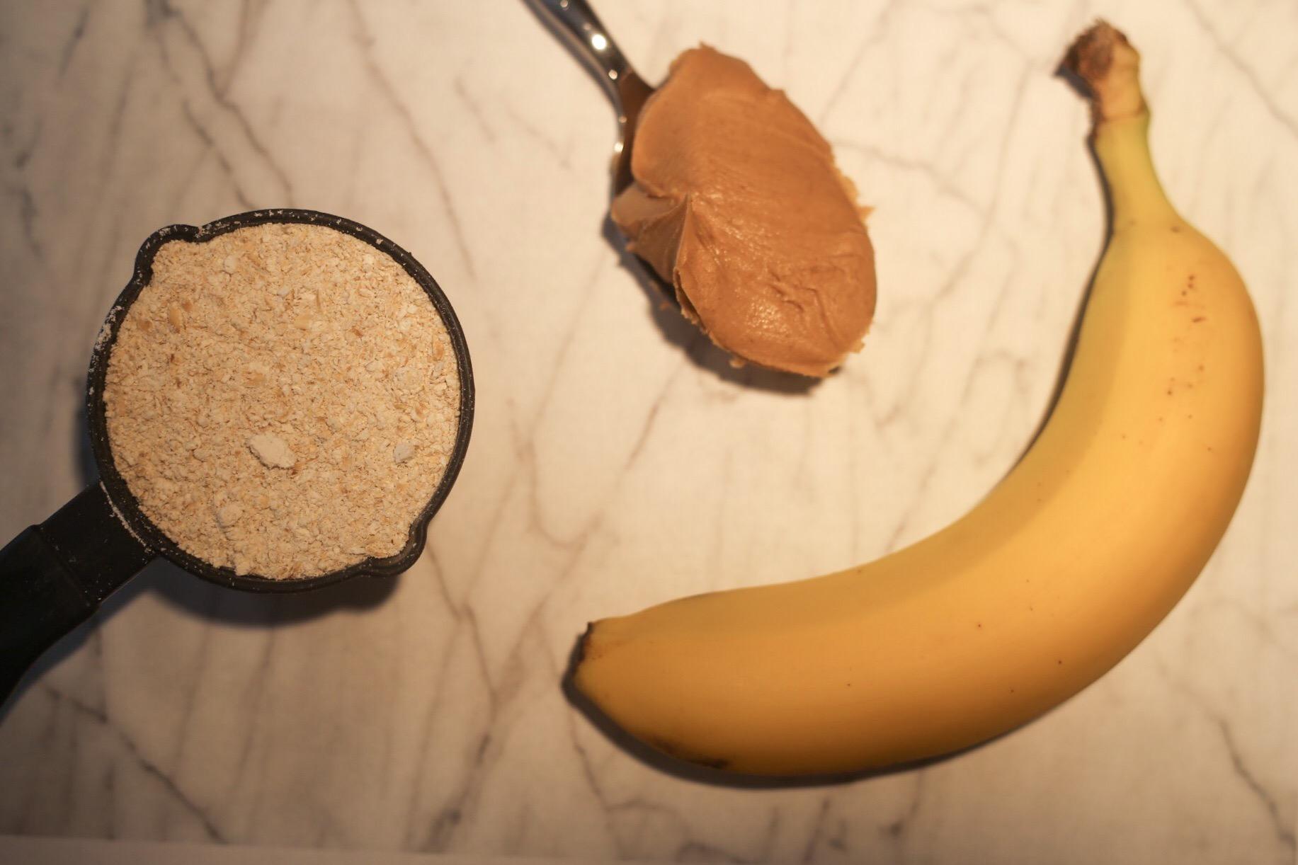 oats, peanut butter, and banana for dog treats